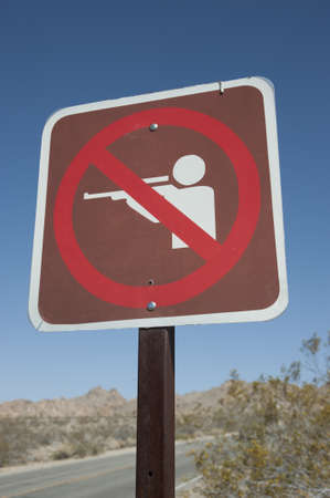 no shooting sign in the desert photo