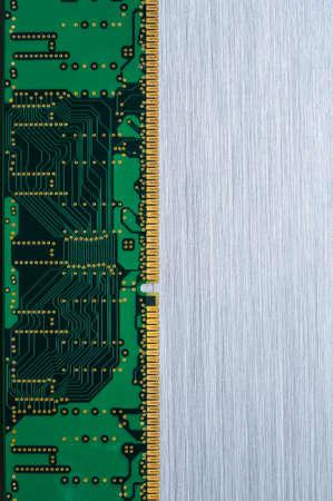 Computer circuits on brushed metal