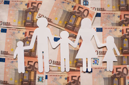 paper family on euro notes Reklamní fotografie