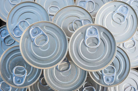 canned goods: Canned goods lids with pull rings