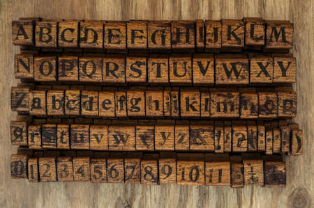 printing block: wooden printing block alphabet and numbers Stock Photo