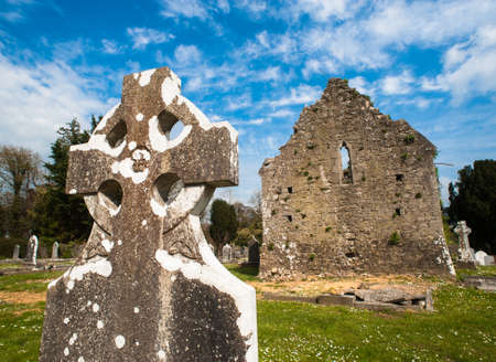 Celtic graveyard ruins in Adare, Ireland  Stock Photo