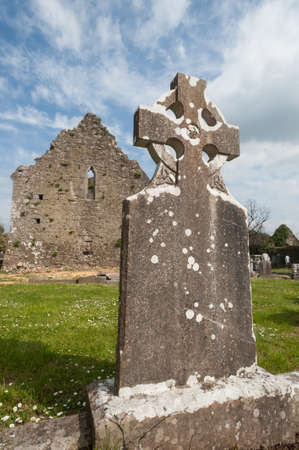 Celtic gravestone ruins in Adare, Ireland Stock Photo