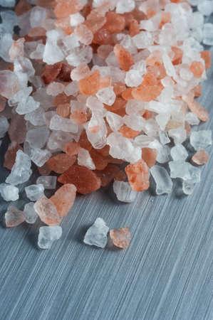 brushed metal background: Himalayan Crystal Rock Salt on brushed metal background