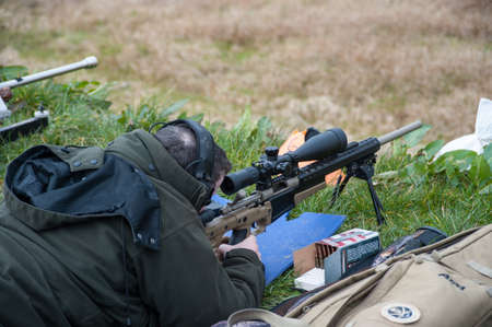 sniper training: Castlemaine Ireland  28th March 2015: Rifle target shooting at Castlemaine gun range Target shooting has grown popularity in Ireland even with some of the strictest firearms laws in Europe Editorial