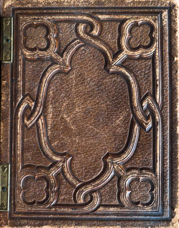 ancient books: old vintage antiquarian leather book cover background Stock Photo