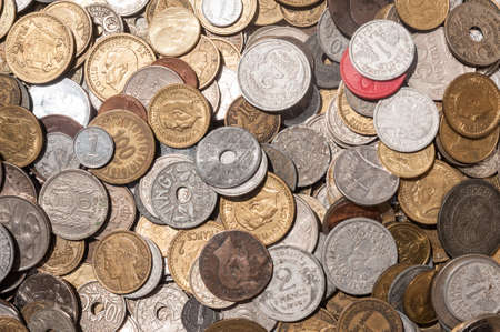 franc: pile of old vintage french franc coins Stock Photo