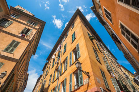 Old town Nice narrow building angles Banco de Imagens