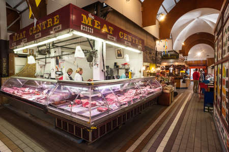 meat counter: Cork City Ireland  28th March 2015: Meat counter at the English market in Cork CityThe Market open since 1788 is a well know local market popular with locals and tourists alike.