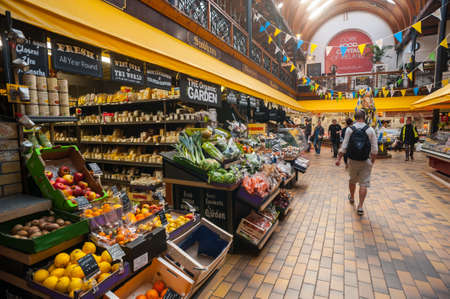Cork City Ireland  28th March 2015: Fruit and vegetables for sale in the English market in Cork CityThe Market open since 1788 is a well know local market popular with locals and tourists alike.