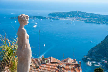 View from the top of the Eze exotic garden on the French Riviera