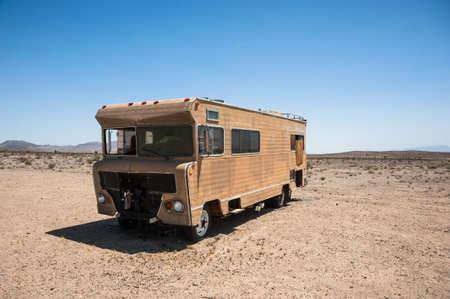 rv: Abandoned Recreational vehicleRV in the desert