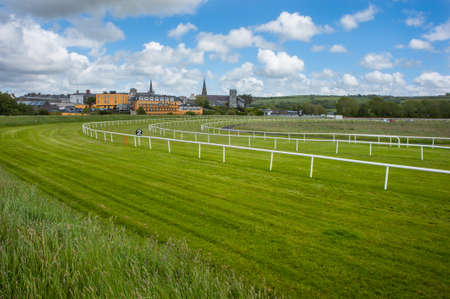 horse race: Horse racetrack landscape Stock Photo