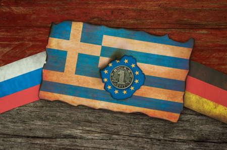 financiele crisis: Griekse financiële crisis Vlaggen concept achtergrond