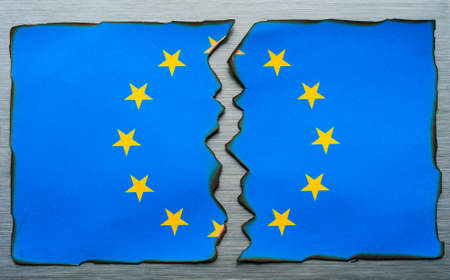 burnt: burnt fractured European flag background
