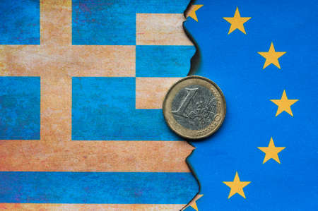 greece: Greek Euro flag burnt dividing grunge background
