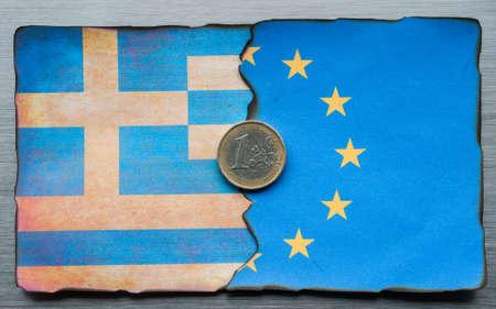 dividing: Greek Euro flag dividing grunge background