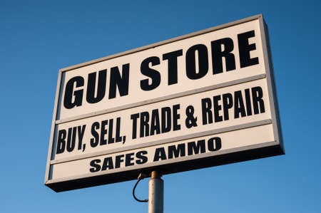 guns: gun store sign in the United States