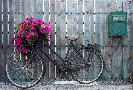 vintage: oude vintage fiets met bloemenmand Stockfoto