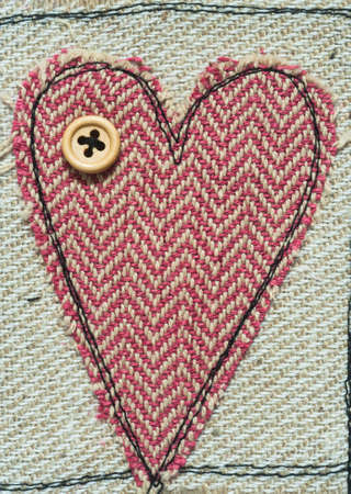 stitched: stitched Love Heart texture background