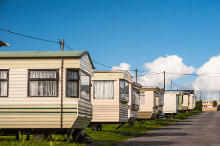 static: row of Static holiday home caravans