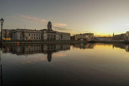 Cork city river reflection sunset cityscape