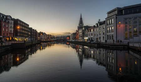 Cork city at dusk river reflection Banco de Imagens