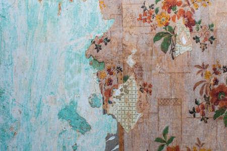 crackles: Old peeling wallpaper grunge wall background
