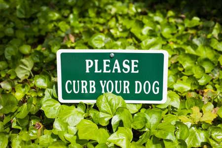 restrain: Please Curb Your Dog Sign in sidewalk leaves