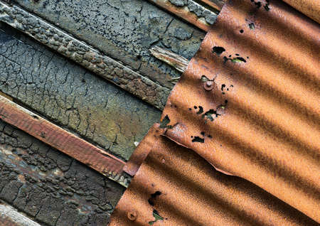 galvanised: Rusty Corrugated galvanised iron and burnt wood texture background