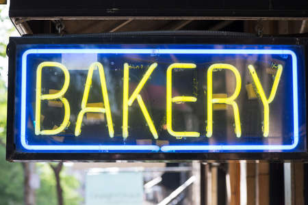bakery store: Bakery store neon sign background