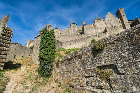 the view from below: View from below of Castle fortress of Carcassonne in the south of France