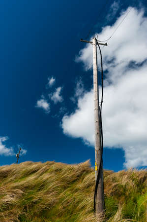 electricity power lines on windy tall grass covered sand dunes Stock Photo