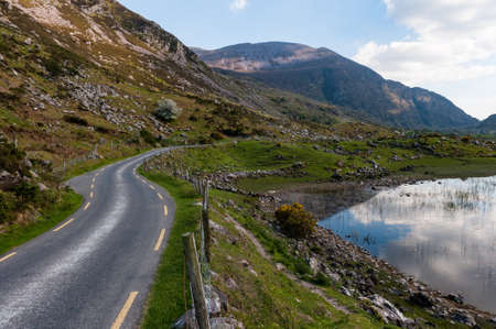 scenic landscape Winding road of the Gap of Dunloe in County Kerry, Ireland
