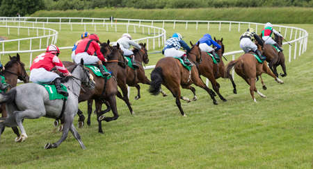 Horse race taking the final turn towards the finish line Фото со стока - 80100035