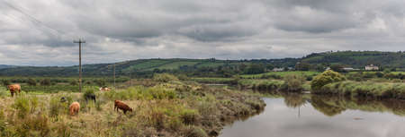 Rural Ireland river panorama farmland