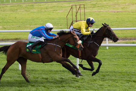 Listowel, Ireland, 9th September 2018.Humm Baby ridden by P. Townend (blue) about to take the lead and win the 3:35PM race in Listowel