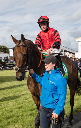 Listowel, Ireland, 9th September 2018. Race horse Eiri Na Casca ridden by S A Mulcahy in the parade ring of Listowel race course before the 4:50pm Kerry Group Handicap Steeplechase Editorial