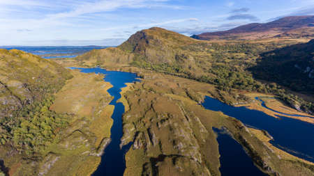 Aerial view of Killarney National Park on the Ring of Kerry during autumn,County Kerry, Ireland