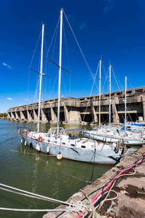 Yachts docked outside World War 2 BETASOM submarine base in Bordeaux, France