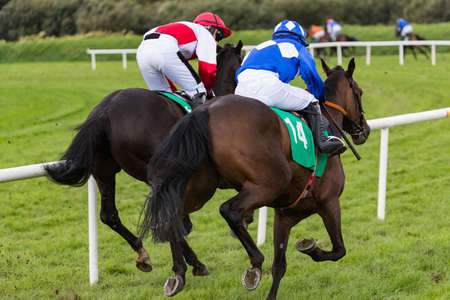 Two race horses and jockeys galloping for position on the race track