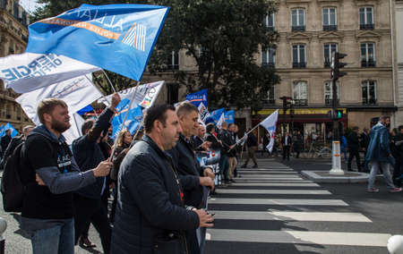 Paris, France -2nd October 2019: French police protest working conditions and the rise in the number of police officers taking their own lives.