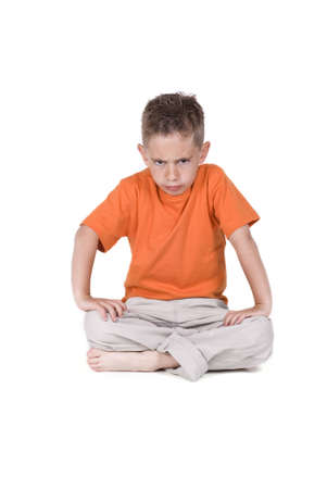 six years old angry looking boy Stock Photo - 1342133