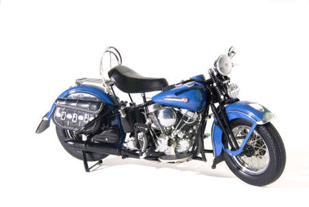 A beautifull old blue motorcycle