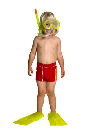 A boy with a snorkel and a swimsuit on a white background Stock Photo