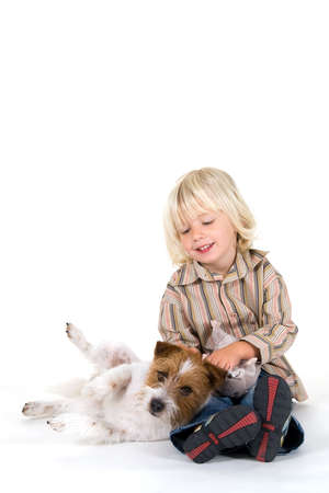 Two best friends, a boy and his dog photo