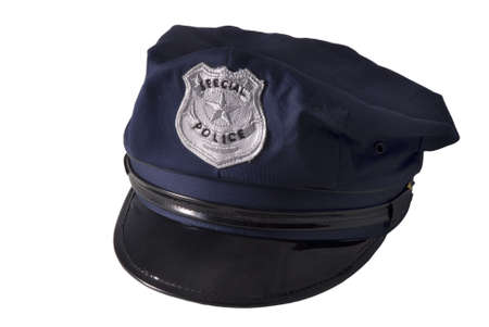 a police cap, isolated on white Stock Photo