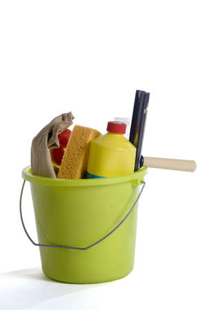 turnout: cleaning with bucket, sponge and liquid Stock Photo