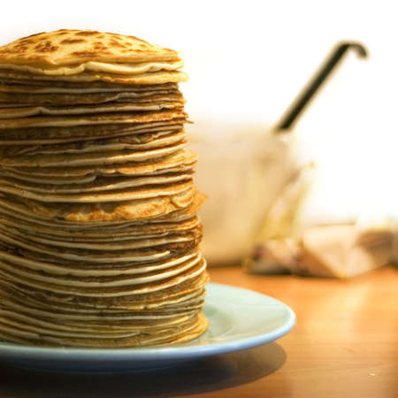 a pile of delicious handmade pancakes Stock Photo