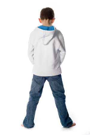 boy standing and pee Stock Photo